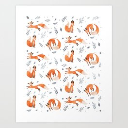 For Fox Sake - Red Foxes on White Art Print