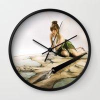 tinker bell Wall Clocks featuring Tinker Bell by Julie-Chantal