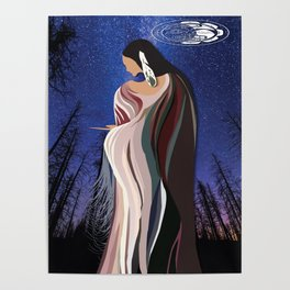 American Native Night Woman Poster