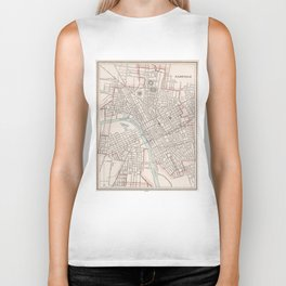Vintage Map of Nashville Tennessee (1901) Biker Tank