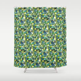 Sublime Watercolor Artwork with Artdeco Green Contemporary Tiles Shower Curtain