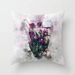Flowers and Book Throw Pillow