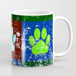 Distressed Dog Paws In Squares Coffee Mug