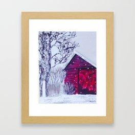 Christmas Barn Framed Art Print