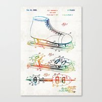 blackhawks Canvas Prints featuring Ice Skate Patent - Sharon Cummings by Sharon Cummings