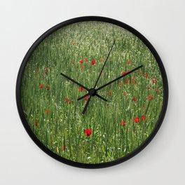 Poppy Field And Springtime Hay Meadow  Wall Clock