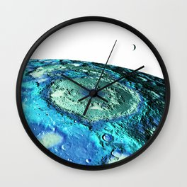 The Moon & Earth : Turquoise Blue Moon Wall Clock