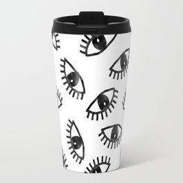 Eyes linocut black and white minimal eyes carving pattern Travel Mug