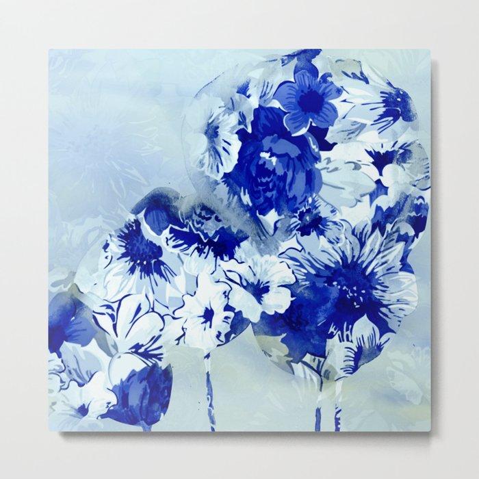 blue balloons floral Metal Print