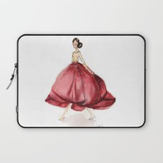 Red Fashion Watercolor Model Laptop Sleeve