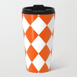 Large Diamonds - White and Dark Orange Travel Mug