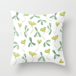 """Watercolor Painting of Picture """"Green Leaves"""" Throw Pillow"""