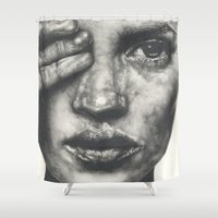 kate moss Shower Curtains featuring Kate  by Lucy Schmidt Art