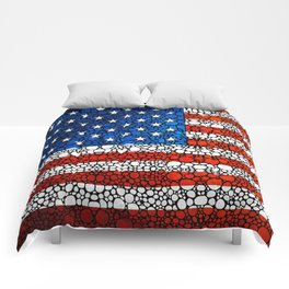 American Flag - USA Stone Rock'd Art United States Of America Comforters