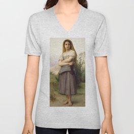 """William-Adolphe Bouguereau """"Young girl"""" Unisex V-Neck"""