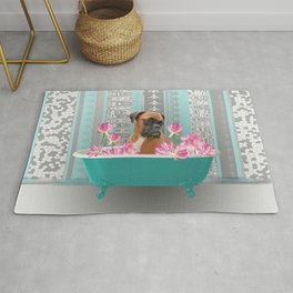Boxer Dog in Bathtub with Lotos Flowers Rug