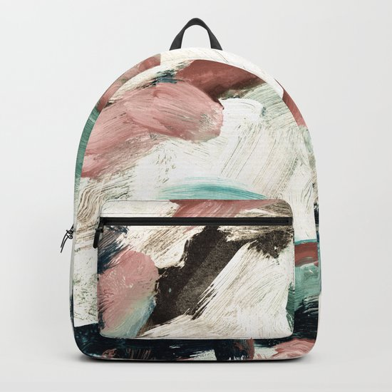 abstract painting VI - green & dusty pink Backpack
