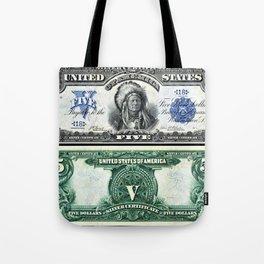 Vintage 1899 Running Antelope Native American US $5 Dollar Bill Silver Certificate Tote Bag
