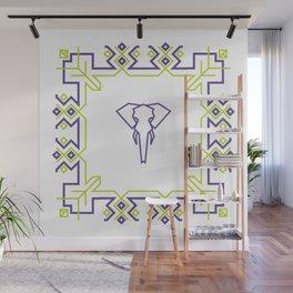 Elegant Elephant in Violet Green Pattern Wall Mural