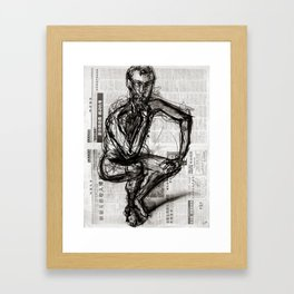 Instinctive - Charcoal on Newspaper Figure Drawing Framed Art Print