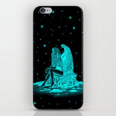 Angel , lost in thought , black and green Design iPhone & iPod Skin