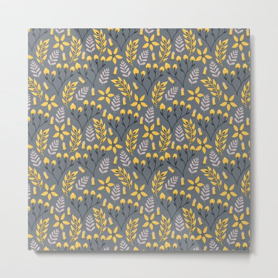 Yellow Floral Gray Metal Print
