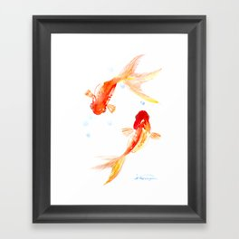 Goldfish, Two Koi Fish, Feng Shui, yoga Asian meditation design Framed Art Print