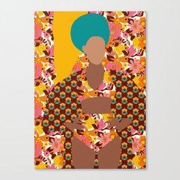 Tulip Kimono and Retro Floral Wallflower Canvas Print