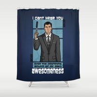 archer Shower Curtains featuring Archer Awesomeness by 666HUGHES