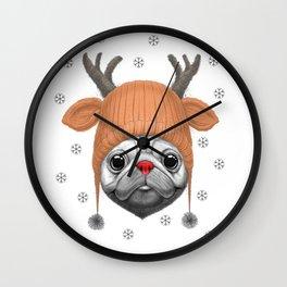 Pug Rudolph Wall Clock