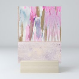Rose Blush, Dreamy Pink And Blue Modern Abstract Art Mini Art Print