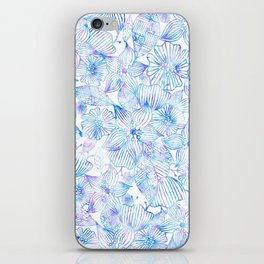 Bohemian teal pink watercolor hand painted floral iPhone Skin