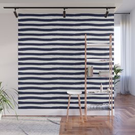 Navy Blue and White Horizontal Stripes Wall Mural