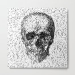 Skull - Skull in white Fur Metal Print