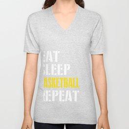 Eat. Sleep. Basketball. Repeat. Unisex V-Neck
