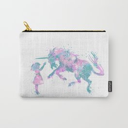 Girl and Unicorn Colorful Teal Pink Watercolor Kids Art Carry-All Pouch