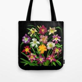Display of daylilies II on blck Tote Bag