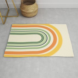 Abstract and Colorful Line Art   Colorful Arches   Yellow, Orange, Green Rug