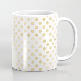 Vintage rustic faux gold white elegant polka dots pattern Coffee Mug