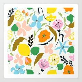 Lemon Botanicals, Chic Tropical Floral Summer Garden Colorful Illustration Lemons Tamarind Nature Art Print