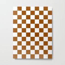 Checkered - White and Brown Metal Print