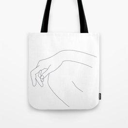 Hand on knee black and white illustration - Ana Tote Bag