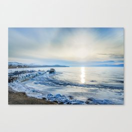 Frozen wharf and Halo Canvas Print