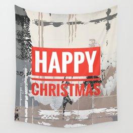Snowfall - Happy Christmas Wall Tapestry