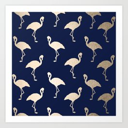 Gold Flamingo Pattern Navy Blue Art Print