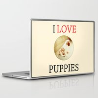 puppies Laptop & iPad Skins featuring I love puppies. by Marta Zappia