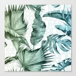 Mod Tropical Palm Leaves in Turquoise Green Blue Gradient Canvas Print
