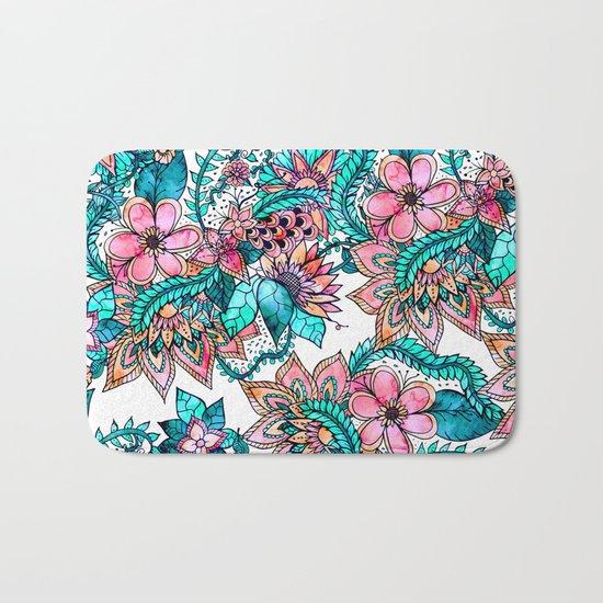 Boho turquoise pink floral watercolor illustration Bath Mat