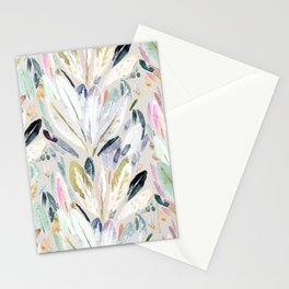 Pastel Shimmer Feather Leaves on Gray Stationery Cards