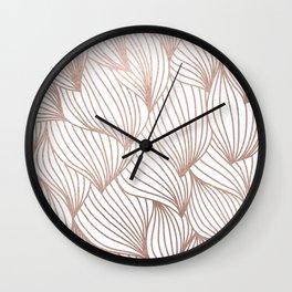 Rose gold petals Wall Clock